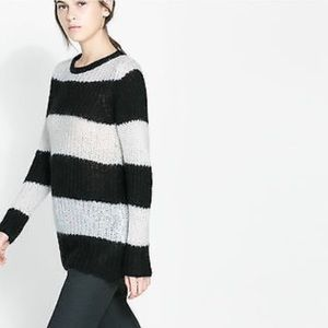 Zara | Black and White Wide Stripe Knit Sweater